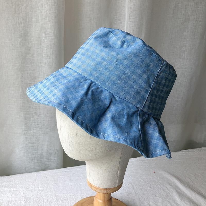 Korean version of small fresh lattice fisherman's Women's summer lightweight breathable sun cloth Hat