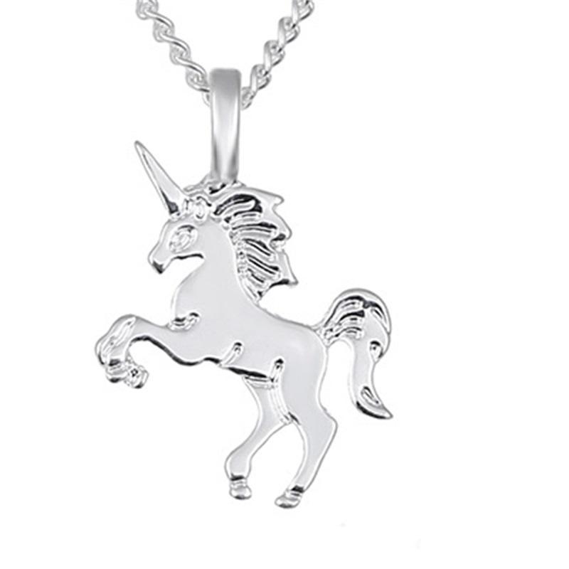 Hayvan Kolye Kolye Kartlı Altın / Gümüş Kaplama Unicorn Kolye ile 20 inç Zincir Moda Neckalce Takı ile 1084 Q2
