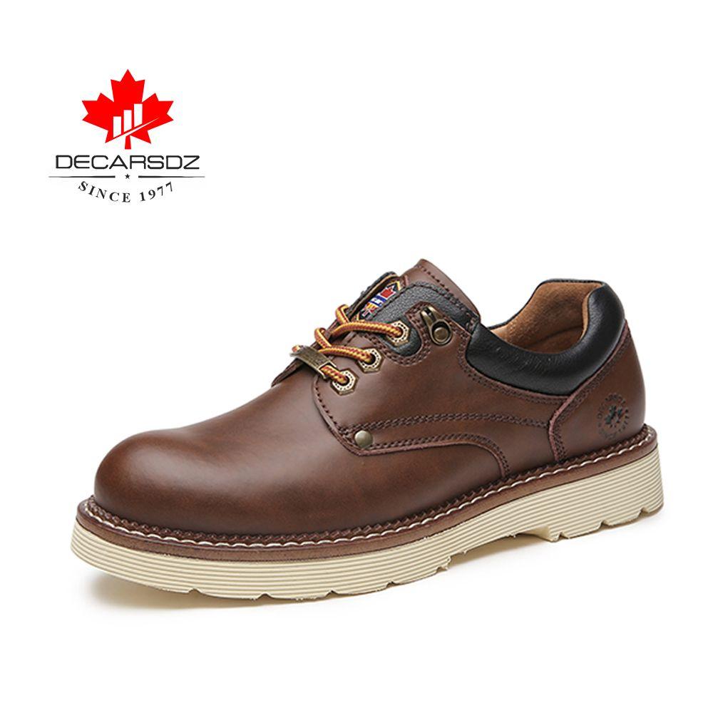 Decarsdz Adam Hakiki Deri Ayakkabı Erkekler 2021 Sonbahar Kış Yeni Comfy Dantel-Up Erkek Rahat Ayakkabılar Moda Ofis Stil Erkek Ayakkabı WSGDDSOIIER