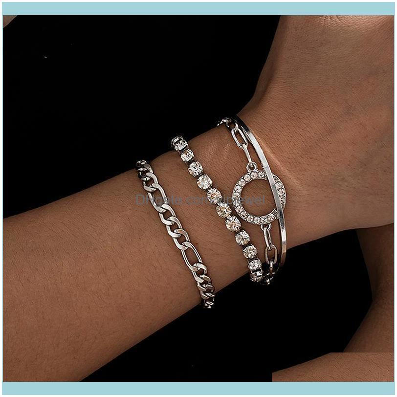 Charm JewelryShixin 4 teile / satz Charms Kristall Für Frauen Luxus Beling Strass Kette Armbänder Armreifen Set Schmuck Handketten Drop liefern