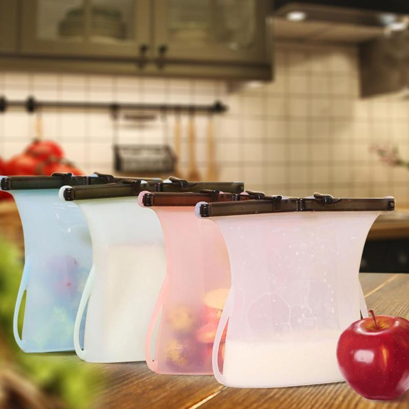 Échauffeurs de nourriture Conteneurs de stockage Sac Silicone Sacs Sacs scellés Fresibles Préservation réutilisable Organisateur de réfrigérateur