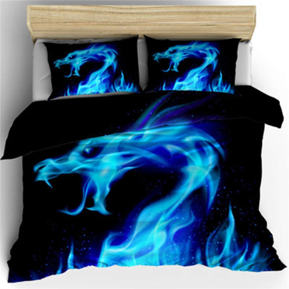 Tekstil ev yatak dekorasyon yatak odası yakışıklı mavi kırmızı yangın ejderha baskı desen nevresim setleri 3 parça set