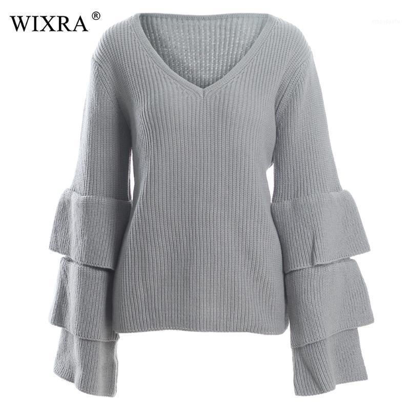 WixRA 2018 pull-overs Pull lâcher Sexy V cou à col V Pulls à manches longues en vrac automne Hiver Hiver Vêtements femme1