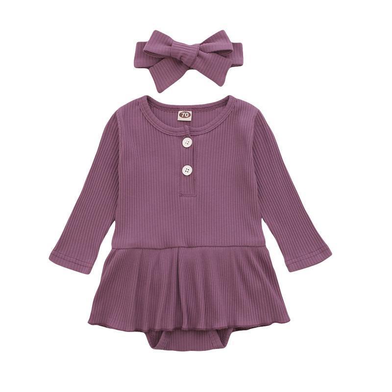 가을 겨울 긴 소매 면화 버튼 rompers 태어난 아기 소년 소녀 jumpsuit 유아 소년 소녀 playsuits 옷 romper 드레스 의류 세트