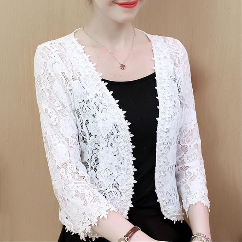 Blusas Mujer De Moda Womens Blouses 3XL 4XL Plus Size Fashion Beading Hollow Lace Tops And B240