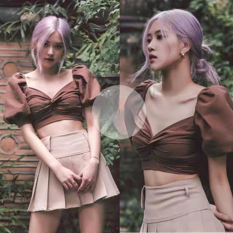 KPOP Koreanische Promi Rose Party Elegante Mode Slim Puff Sleeve Hemden Frauen Nachtclub Sexy Kurze Tiefe V-Ausschnitt Tops und Blusen Frauen