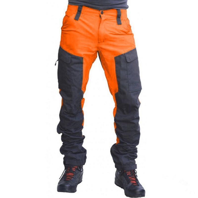 남자 색상 일치하는 바지 슬림 패션 남성 지퍼 멀티 포켓 긴화물 팬츠 작업 캐주얼 기관차 자동차 정장 바지