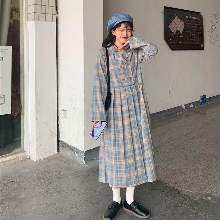 Bella Filosofia Abito a maniche lunghe a maniche lunghe Plaid Abito Blazer Vintage Vintage Vita Alta Vestito Dolce Casual Street Coreano Vestidos 210419