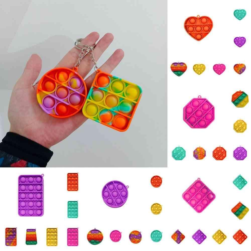 Rainbow Fidget Bulle Push Simple Key Bague Cartoon Sensory Jouets Doigt Fun Puzzle Silicone Squeeze Squeeze Stress Relief G36JFYV