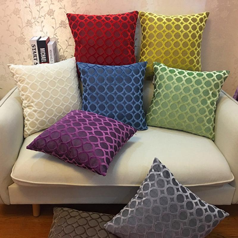 Cushion/Decorative Pillow Chenille Flocking Case Cushion Cover Grey Yellow Purple Red Green Coffee Circle Home Decorative 45x45cm