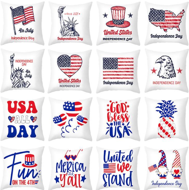 Le dernier étui d'oreiller de 45x45cm, la sélection de style de modèle blanc de l'indépendance américaine, des articles ménagers texturés, supportez le logo personnalisé
