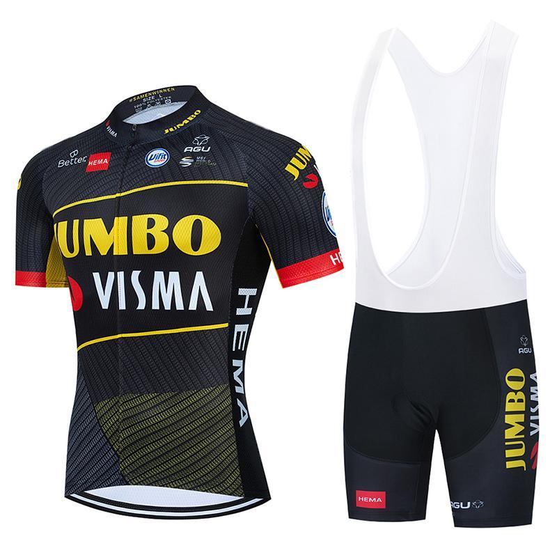 2021 Team Jumbo Visma Ciclismo Jersey Bike Shorts 20d Bib Set Ropa Ciclismo Mens MTB Verão Pro Bicycling Maillot Bottom Roupas