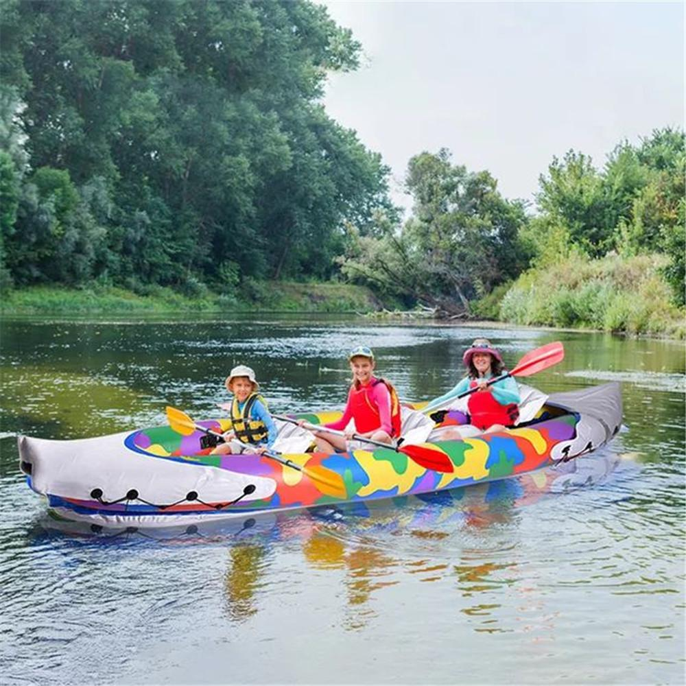 380x90cm Portable 3-Person Surfboard Inflatable Sport Kayak Set Canoe Boat with 2 pcs Aluminum Oars and High Output Air Pump In Stock