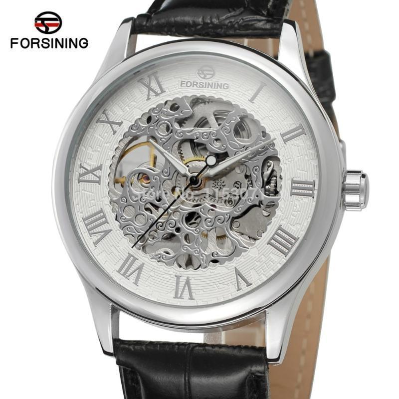 Mekanik İzle Moda Tasarım Erkekler Için Handwinder Gümüş Casedial Renkli Roma Numaraları Iskelet FSG8094M3S1 Saatı