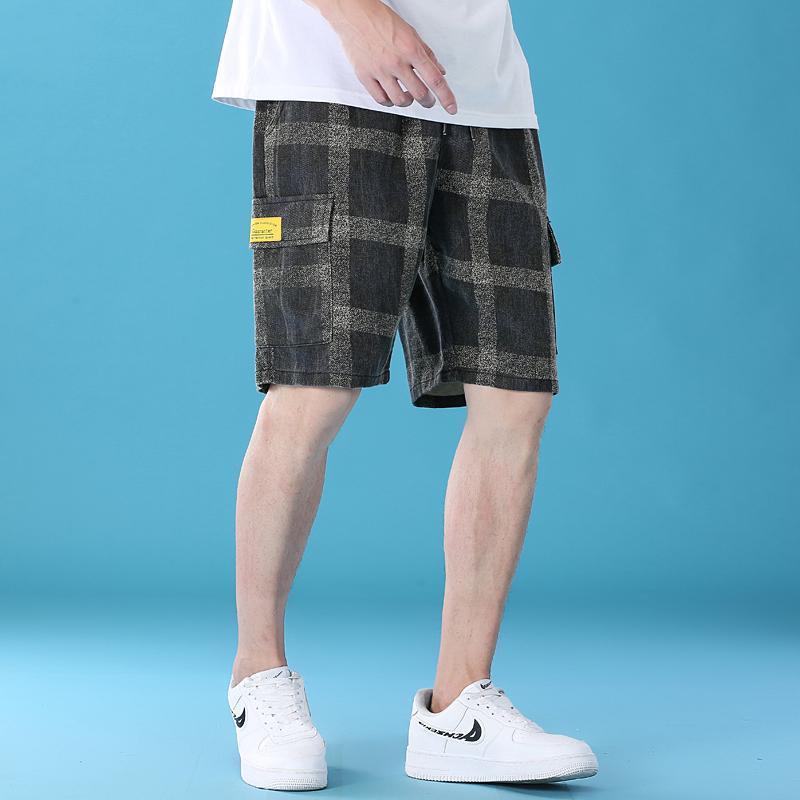 Pantalones cortos para hombres a cuadros casuales 100% algodón suelto moda estiramiento cintura cordón pantalones verano streetwear estilo 2021 m-5xl