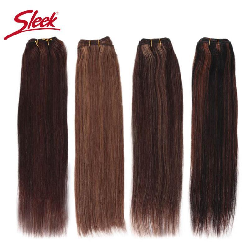 Human Hair Bulks Sleek Remy Brazilian Natural Straight In Weaves Bundles P4/27 And Blone P6/27 Extension 10 To 26 Inches