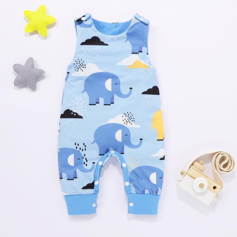 Рожденный младенческий ребёнок девочка мультфильм слон печать ромпер комбинезон одежды 2021 летние короткие боди для комбинезон