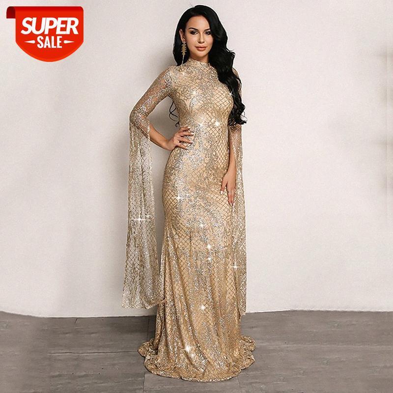 [Auf Lager] Winter Europäisches und amerikanisches Elegantes Kleid Frauen heiße silberne schlanke lange Rock # LR1M