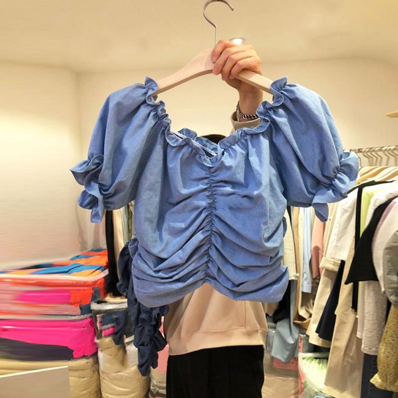 Women's Blouses & Shirts Yocalor Pleated Blouse Women Vintage French Slash Neck Puff Sleeve Ladies Blusa Summer 2021 Fashion Casual Female T