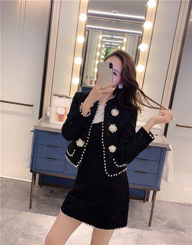 2021 New Autumn Wool Blends 2 pezzi set donna tuta sportiva perla perline cappotto e nero mini gonna runway runway design gonna set da donna
