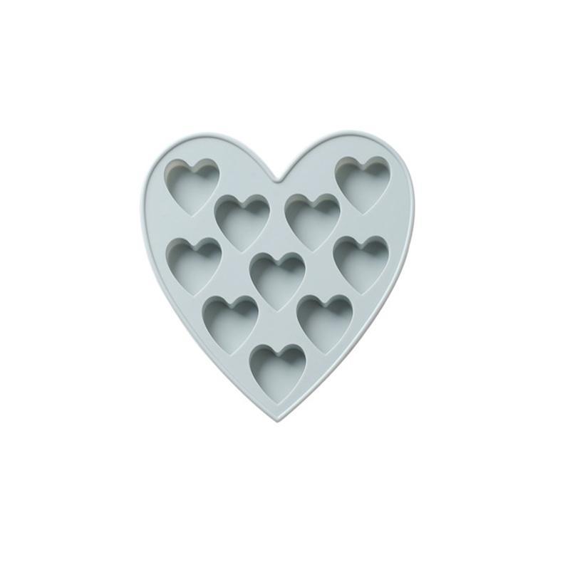 Toptan Pembe ve Mavi 10 Izgaralar Küçük Kalp Şekli Silikon Kek Kalıp DIY Çikolata Kalıpları Buz Kalıp 15.7x14.9x1.5 cm Boyutu A217160