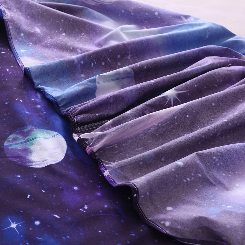 우주 3D 프린트 침구 세트 현대 갤럭시 플랫 시트 40cm 장착 된 시트 + 침대 시트 + 케이스 별이 빛나는 하늘 침구 18