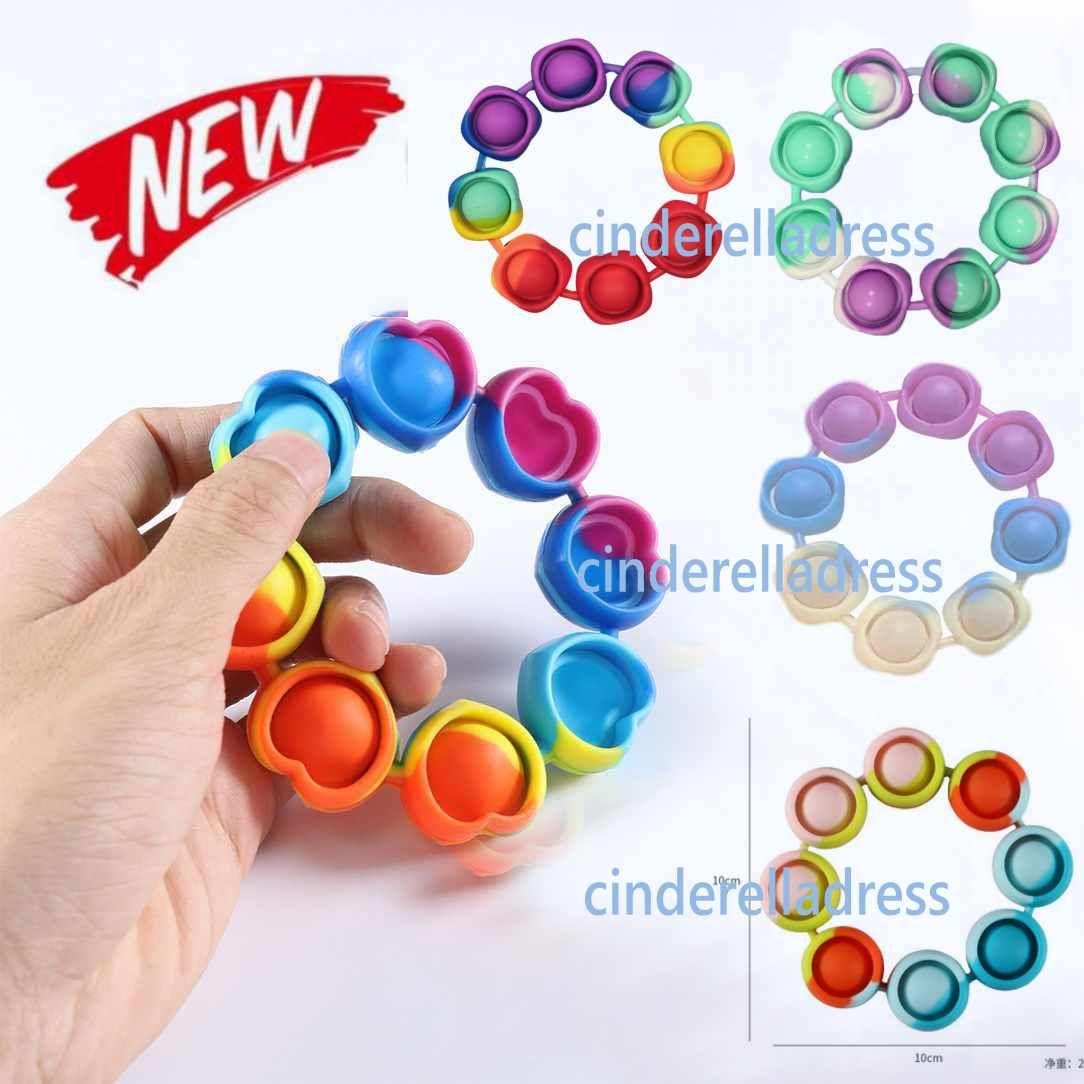 DHL Free Fidget Reliver Stress Speelgoed Regenboog Armband Push Bubble Antistress Volwassen Kinderen Sensory Toy om autisme CY01 te verlichten