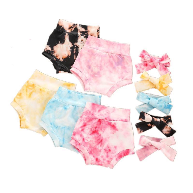 Niño nacido niño bebé niñas niños tinte tinte estampado pantalones pantalones + diadema 2pcs elástica alta cintura 5 colores ropa
