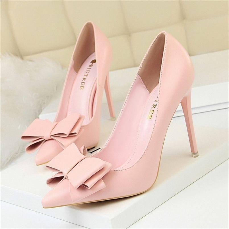Herbst Ferse Schuhe Rosa Heels Frau Blau Süße Bogen Frauen Weiße High Heels Matte Leder Pumps Dünne Ferse Spitze Damen 34 210408