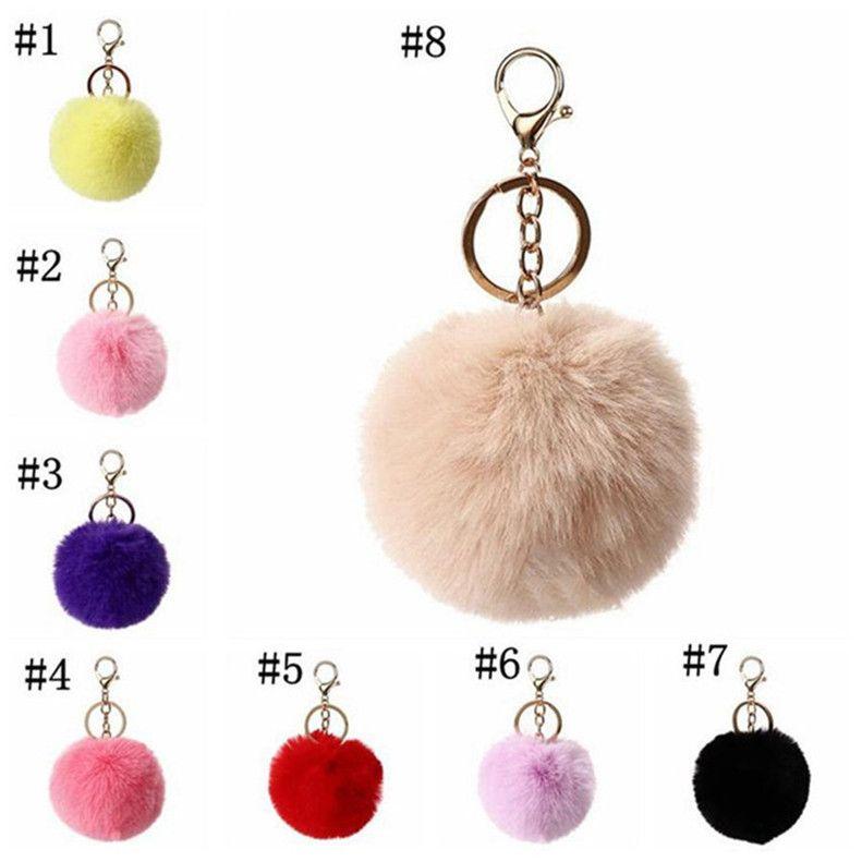 8cm Imitate Rabbit Fur Ball Keychain Pom Car Handbag Keychains Decoration Fluffy Faux Key Ring Bag Accessories Party Favor DHL 2021