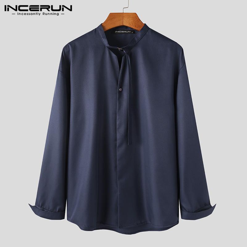 남성 캐주얼 솔리드 컬러 드레스 셔츠 긴 소매 스탠드 칼라 블라우스 남자 느슨한 버튼 캐미사 패션 레이스 셔츠 S-5XL 남자