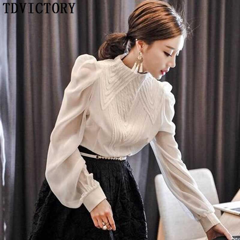 TDVictory piste piste Sprint Automne Femmes Chemisier Chemouse Tops Mode White Stand Collier Longue Lanterne Sleeve Shirt BLUSAS 210602