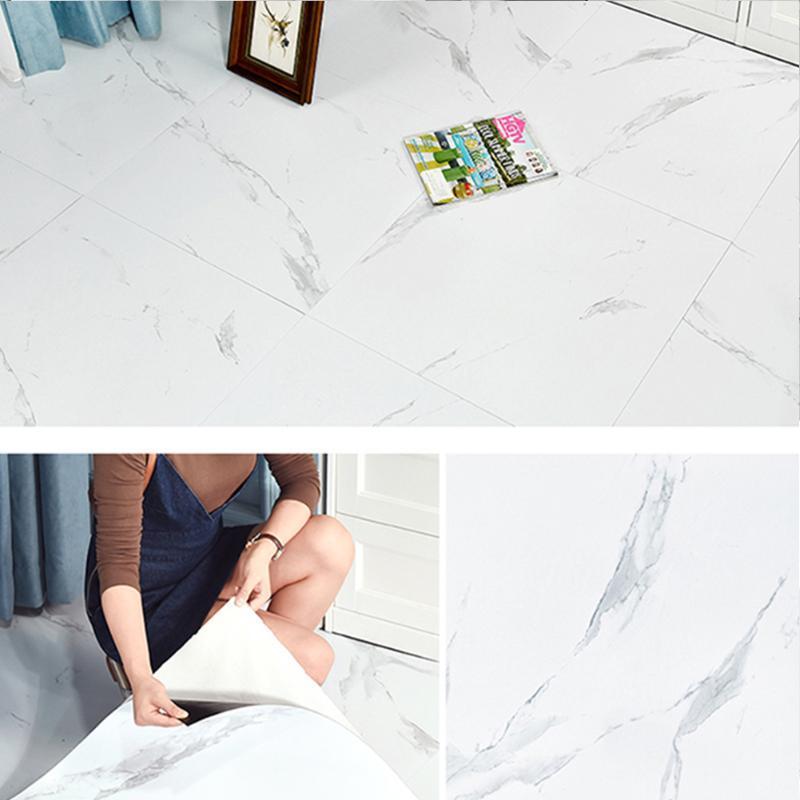 Adesivi per pavimenti in marmo impermeabile Autoadesivo a prova di olio Autoadesivo Carta da parati Cucina Bagno Soggiorno Soggiorno Parete Autoadesivo Sticker Decalcomanie Sfondi