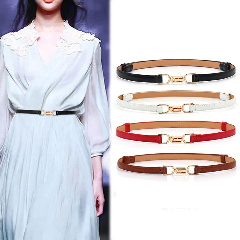 Cinture 1 PZ Nero / Brown / Rosso / Bianco Regolabile PU Leather Ladies Dress Skinny Donne sottili cinturino in vita
