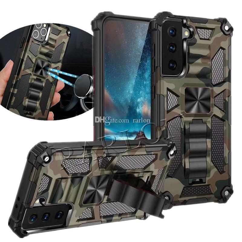 Cas de téléphone magnétique de l'anneau magnétique d'armure pour iPhone 12 Pro Max 11 XR Samsung Galaxy S21 Ultra S20 Plus Note 20 Moto G Puissance Hybrid Hybrid Protector Protector Cover