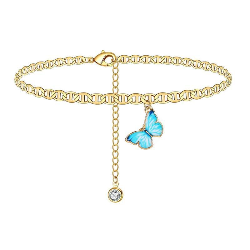 فراشة سحر خلخال سلسلة الفضة الذهب الماس سلاسل الشاطئ الخلخال سوار سوار المرأة الأزياء والمجوهرات هدية الإرادة وسري هبوط السفينة 2281 Q2