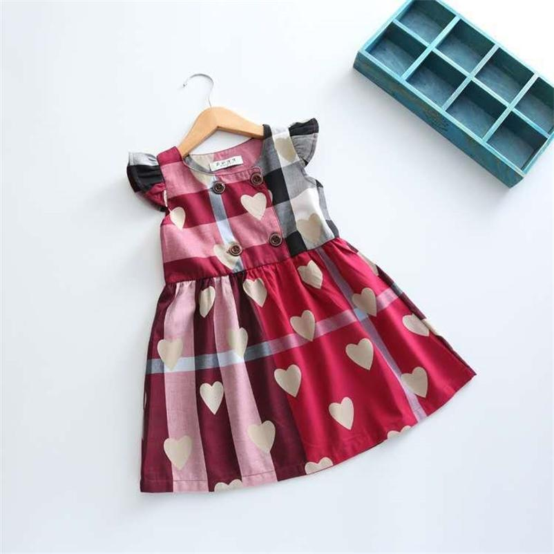 FocusNormal Valentines Tage Prinzessin Kinder Mädchen Kleid Liebe Herz Druck Rüschenhülse Knielange A-Linie Kleid 210402