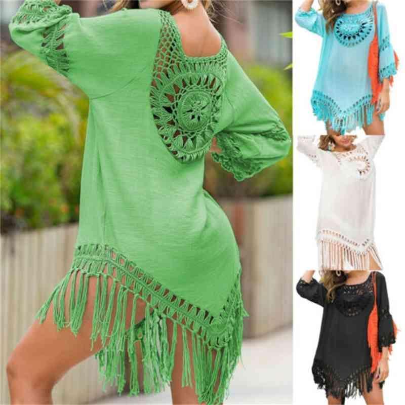 2020 verão mulher feminina womens beach wear vestidos top biquíni cobertura oca out bohemian boho swimwear banhando vestido de sol casual
