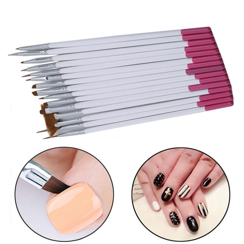15 Adet / takım Profesyonel Nail Art Fırça Seti Çizgi Çizim Boyama Kalem UV Jel Lehçe Tasarımları Akrilik Manikür Araçları Tırnak Malzemeleri