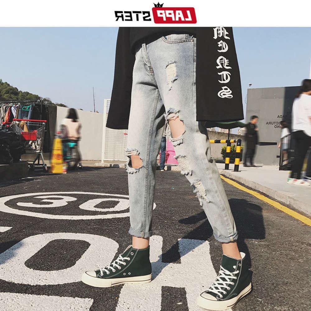 Lappster NY 남성 찢어진 구멍 Streetwear 2021 Mens 고민 된 청바지 슬림 맞는 남성 패션 디자이너 블루 데님 바지