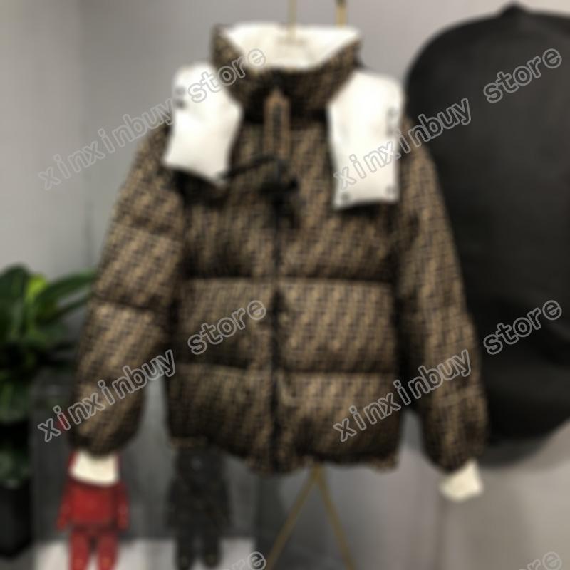 21SS Designer Designer Giacche giù Parkas Cappuccio con cappuccio Lettera a doppia laterali Jacquard Vestiti Mens Cappotti Capispalla Abbigliamento Brown Black White S-XL