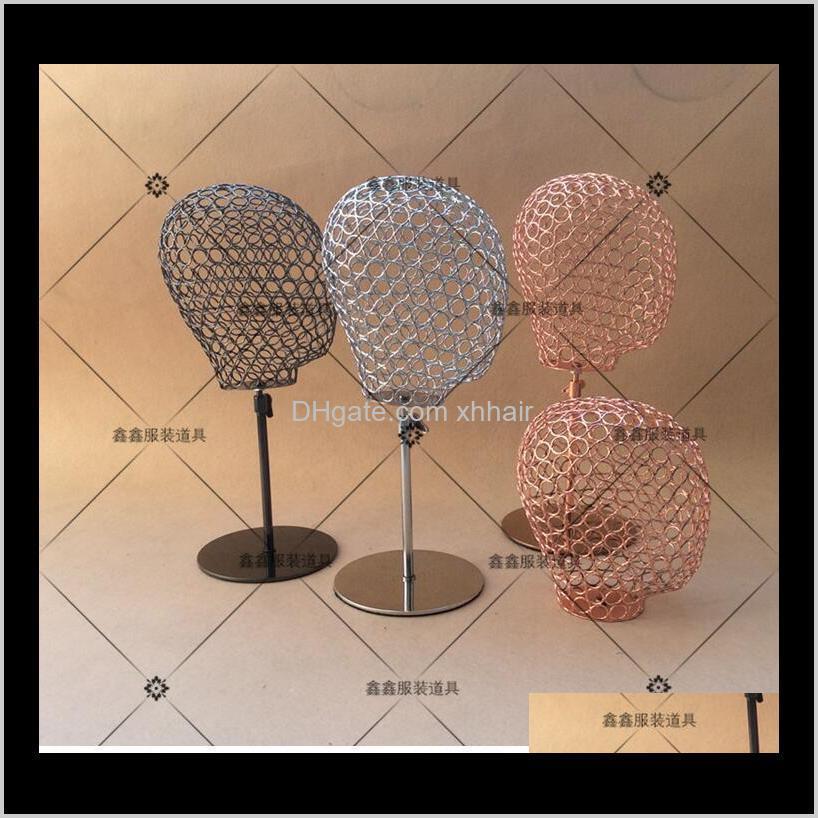 가발 스탠드 Aessories 도구 머리 제품 드롭 배달 2021 유행 홀더 마네킹 모자 디스플레이 와이어 중공 머리 모델 여성 남성