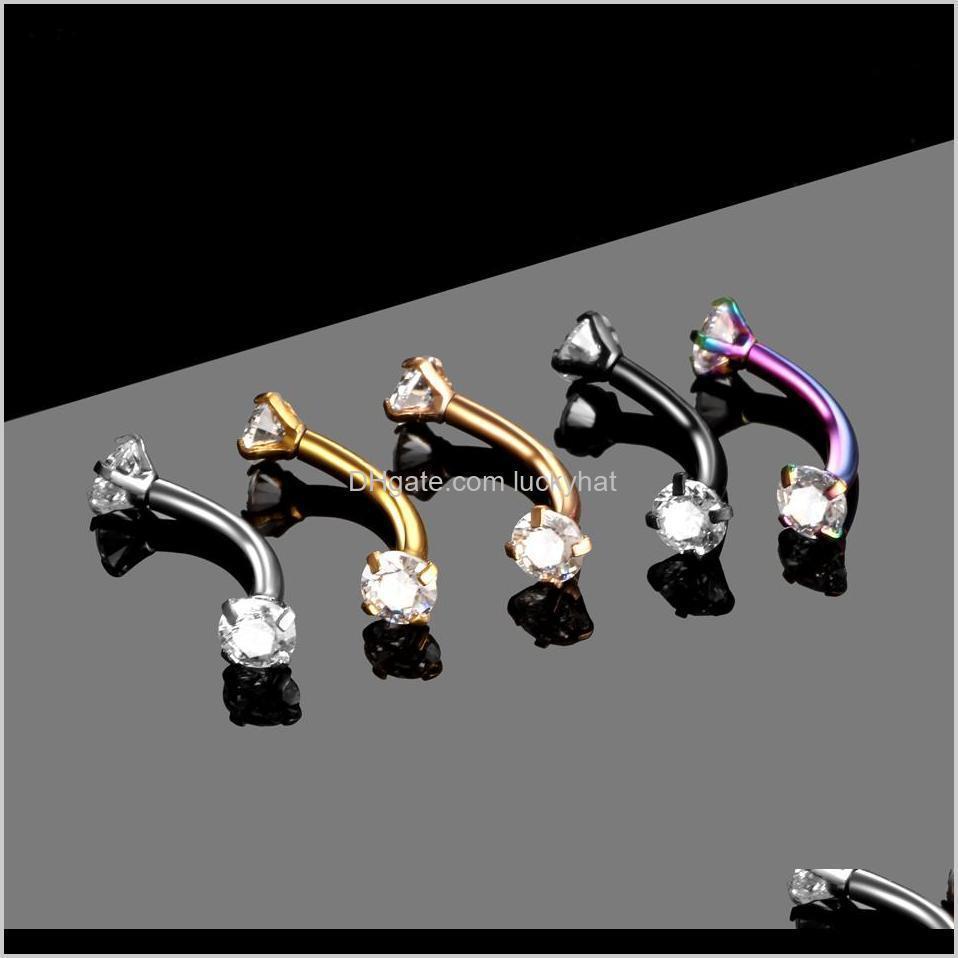 1PC Acier Curved Barbell Piercing Cz Gem Tragus TRAGUS COOK PIERCINGS BIJOUX LIP SEXYY 16G SJJZO XMWV3