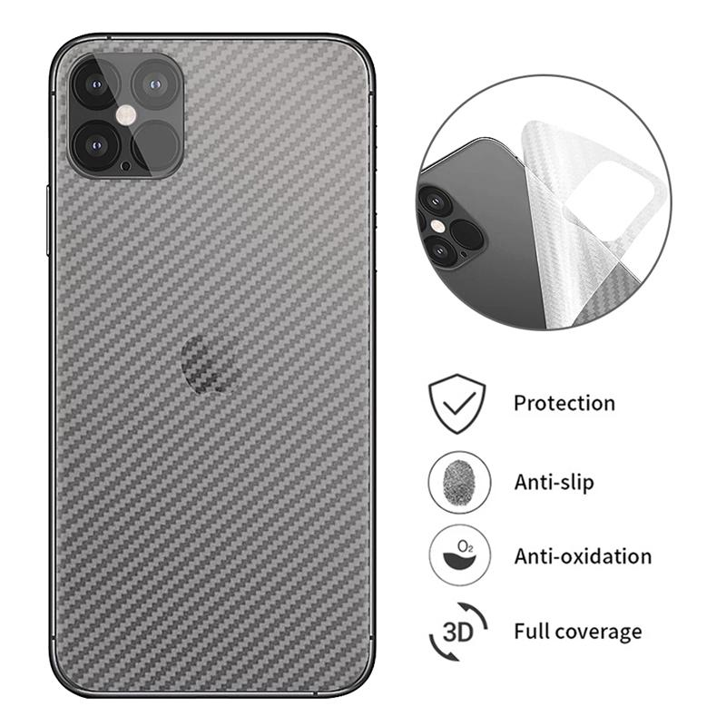 Carbon Fiber Back Screen Protectors Protective for iPhone 12 11 pro Max XR XS 8 Clear Soft Sticker Film
