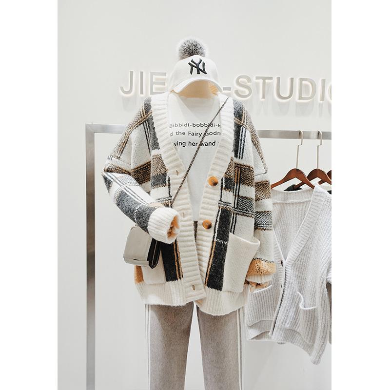가을 겨울 코트 여성 니트 카디건 느슨한 격자 무늬 중간 길이 세련된 재킷 여성의 니트 티셔츠