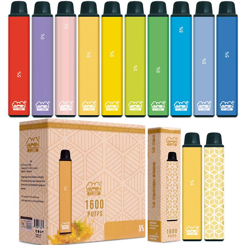 Authentic VAPEN CUBE 1600 PUFFs Disposable Vape Pen Kits E-Cigarettes 650mAh Battery 5.5ml Plus Capacity Brand Portable Vaporizer Pre-Filled Bars Starter Vapor