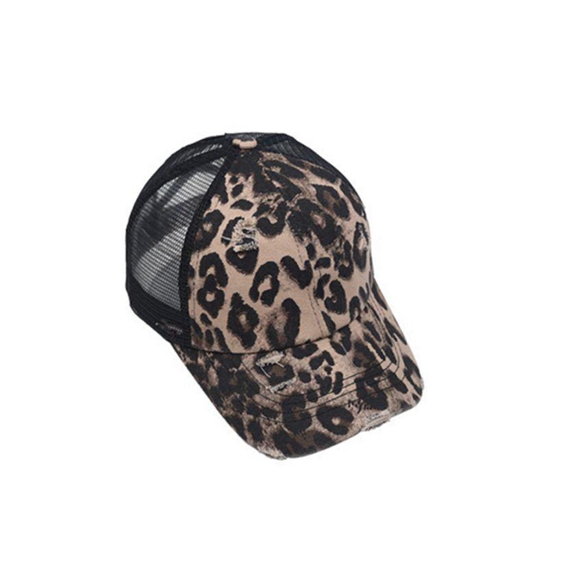 Criss Cross Ponytail Baseball Caps Snapbacks Washed Mesh Back Black Leopard Messy Bun Pony tail Hats Trucker Hat CYZ3129