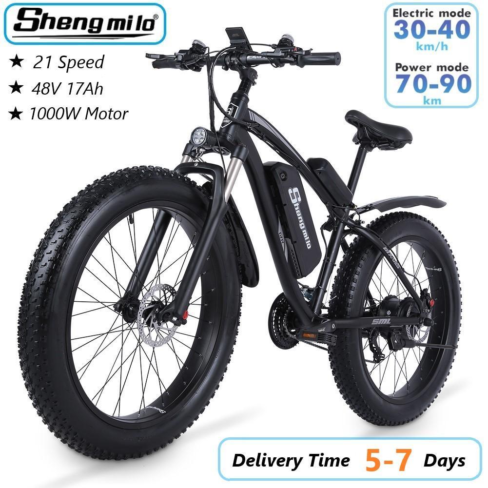الولايات المتحدة Shengmilo MX02S 1000W الكبار الدراجة الجبلية الكهربائية 17AH 48 فولت ليثيوم ايون مدينة الدهون الاطارات دراجة 40 كيلومتر / ساعة E-bike شاطئ كروزر