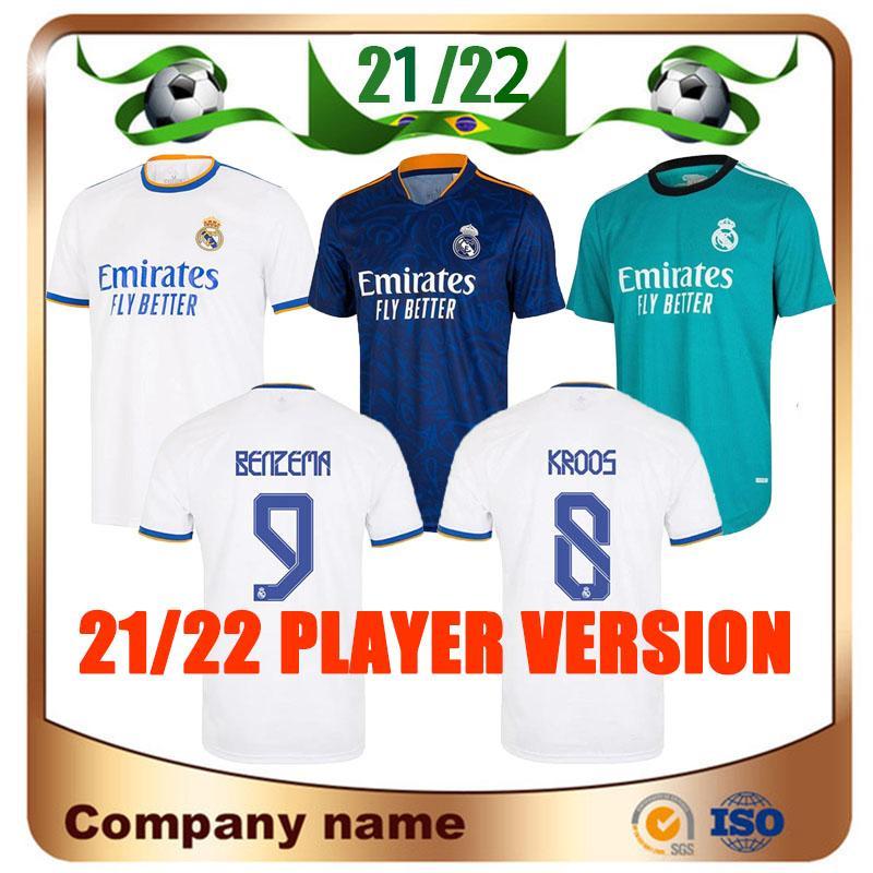 21/22 Versão do jogador Real Madrid Jersey 2021 Home Hazer Kroos Modric Sergio Ramos Maillots de Futebol Camisa Benzema Marcelo Asensio Isco Uniforme
