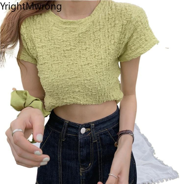 Simple Solid O Neck Vintage Ruched Fold T-Shirt Women Korean Summer Cute Clothing Crop Top Bandage Aesthetic T Shirt Fashion Tee Women's